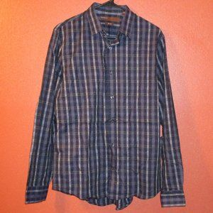 Perry Ellis NWT Striped Button Down Blue Gray Med